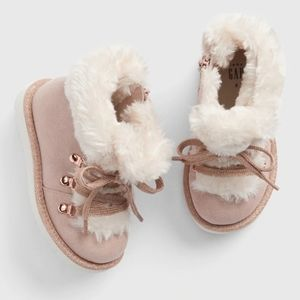 Baby Gap Faux Fur Lace-Up Booties